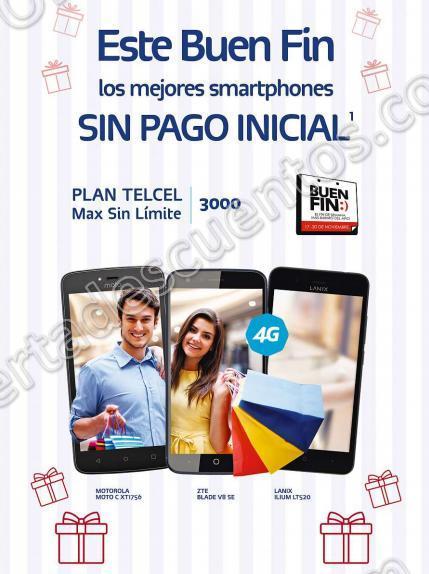 El Buen Fin 2017 Telcel: Teléfonos sin Pago Inicial en Plan Max Sin Limites 3000