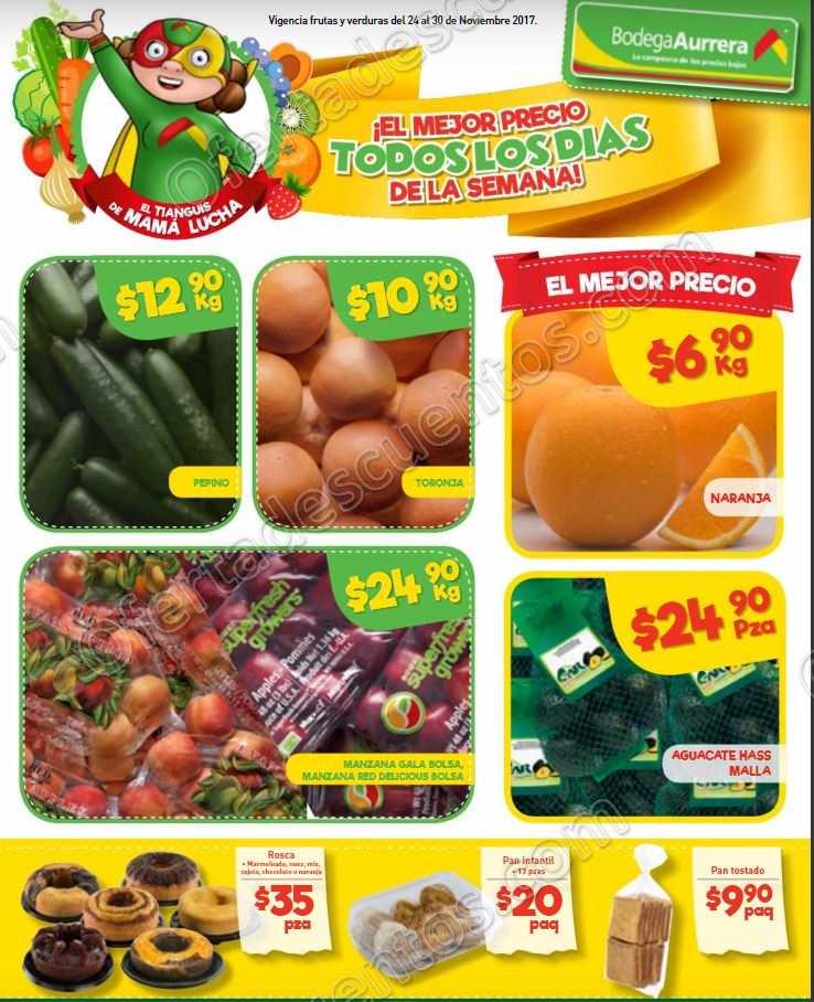 Frutas y Verduras Bodega Aurrera Tianguis de Mamá Lucha del 24 al 30 de Noviembre 2017