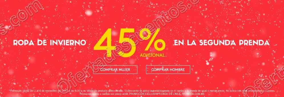 Promoda: 45% de descuento adicional en Ropa de Invierno en segunda compra