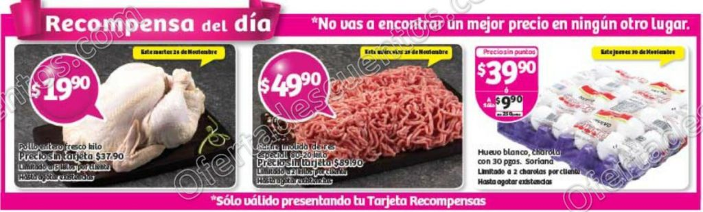 Soriana: Promociones Tarjeta Recompensa del Día del 28 al 30 de Noviembre 2017