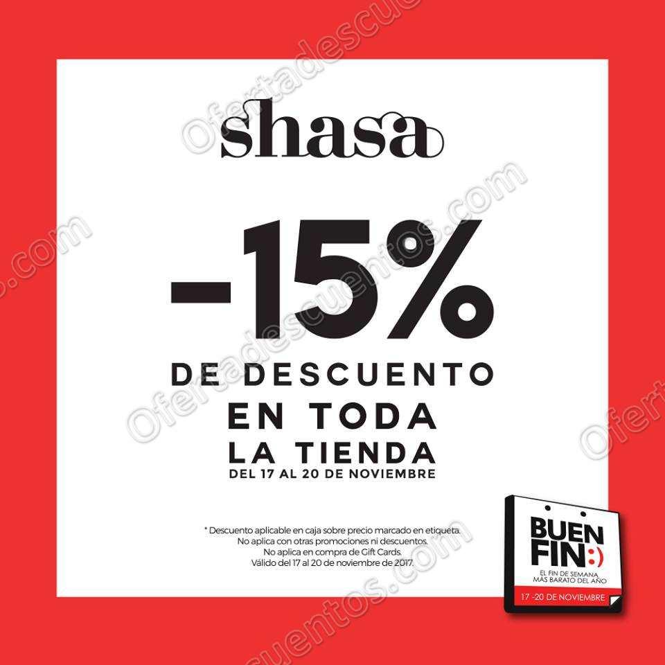 El Buen Fin 2017 Shasa: 15% de Descuento en Toda la Tienda