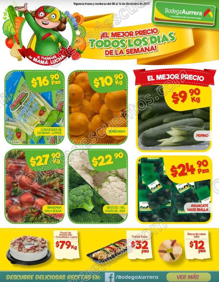 Bodega Aurrerá: Frutas y verduras Tiánguis de Mamá Lucha del 8 al 14 de Diciembre