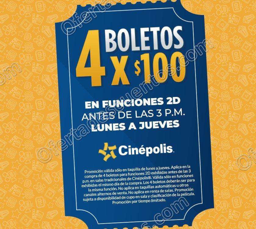 Cinépolis: 4 Boletos por $100 de Lunes a Jueves antes de las 3:00 pm