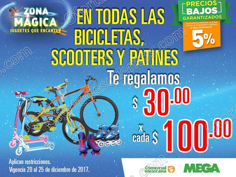 Comercial Mexicana: $30 de descuento por cada $100 en Bicicletas, Scooters y Patines