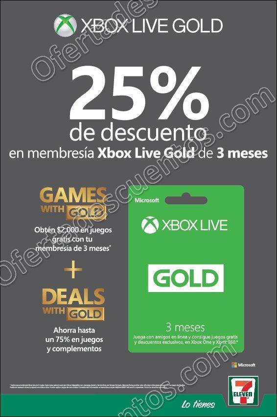 7Eleven: 25% de Descuento en Membresía Xbox Live Gold