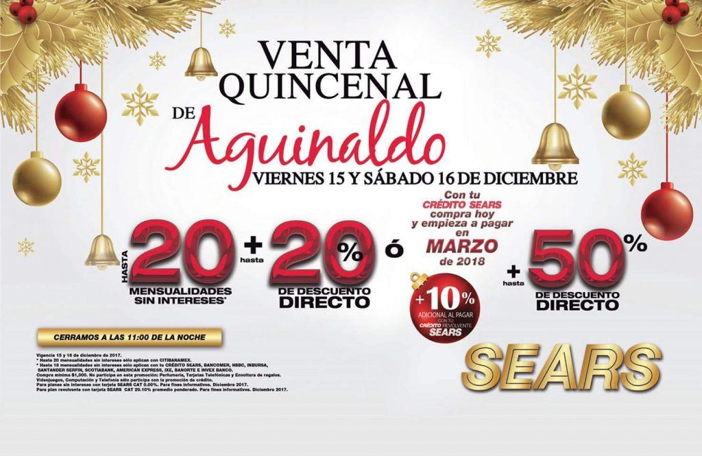 Venta Quincenal de Aguinaldo Sears 15 y 16 de Diciembre 2017