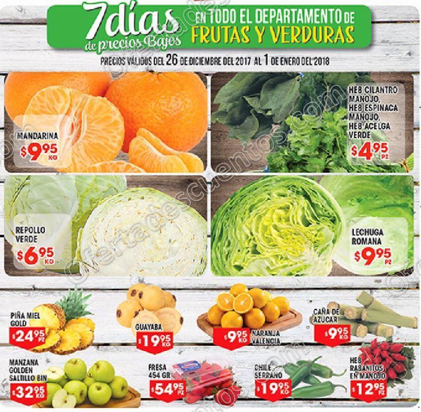 HEB: Ofertas Frutas y Verduras del 26 de Diciembre 2017 al 1 de Enero 2018
