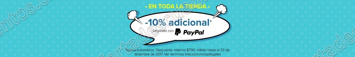 Linio: 10% de descuento adicional en toda la tienda con PayPal al 23 de Diciembre 2017