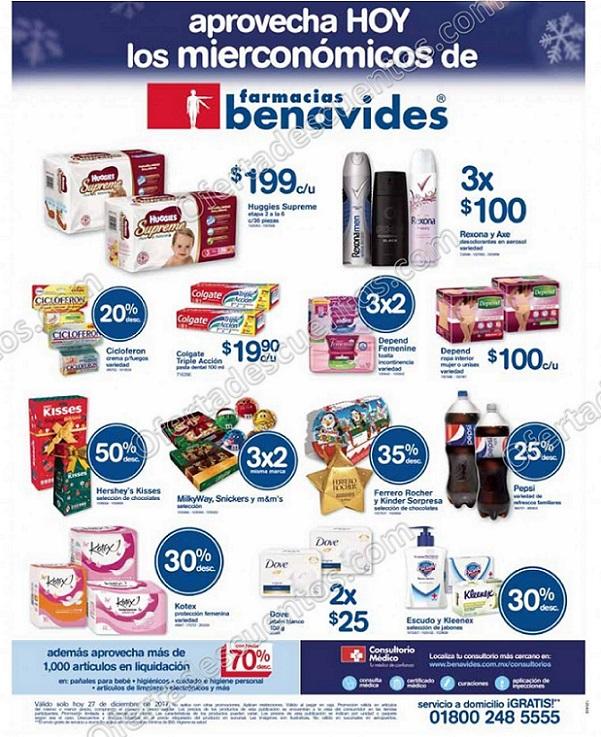 Farmacias Benavides: Ofertas Mierconómicos 27 de Diciembre 2017