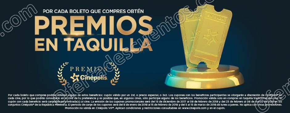 Premios Cinépolis 2017: Por cada boleto que compres obtén entradas al 2×1, Precio Especial, 3×2 y más