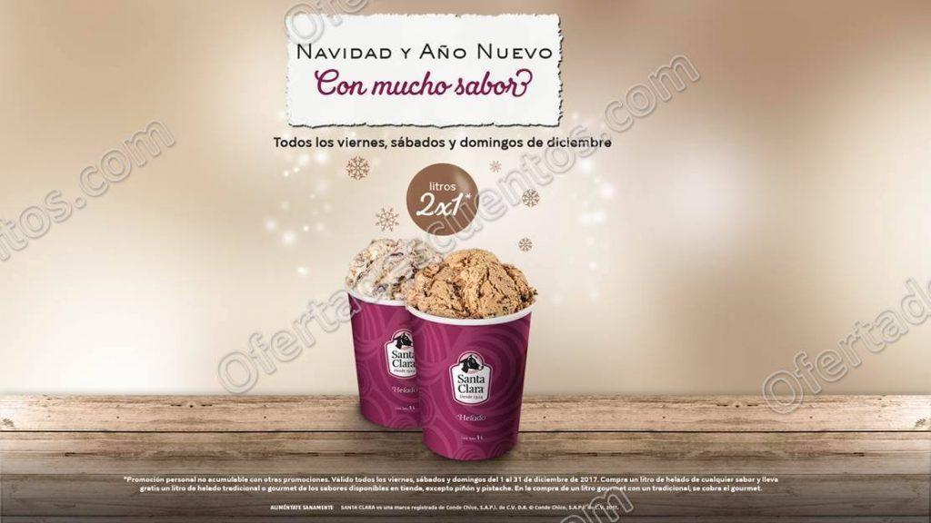 Santa Clara: 2×1 en Litros de helado del 1 al 31 de Diciembre 2017
