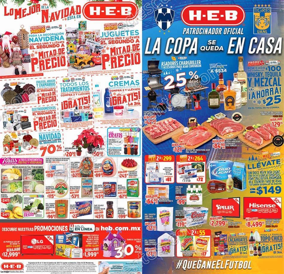 HEB: Promociones Navideñas de Fin de Semana del 8 al 11 de Diciembre 2017