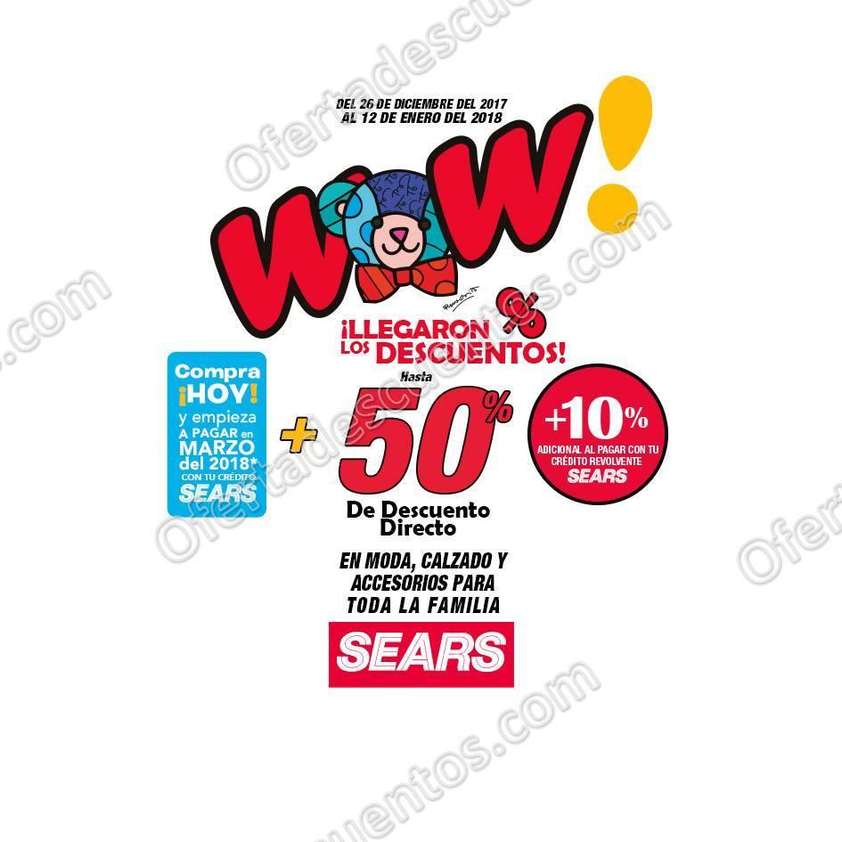 Sears: Rebajas Wow con hasta 50% de descuento al 12 de Enero 2018