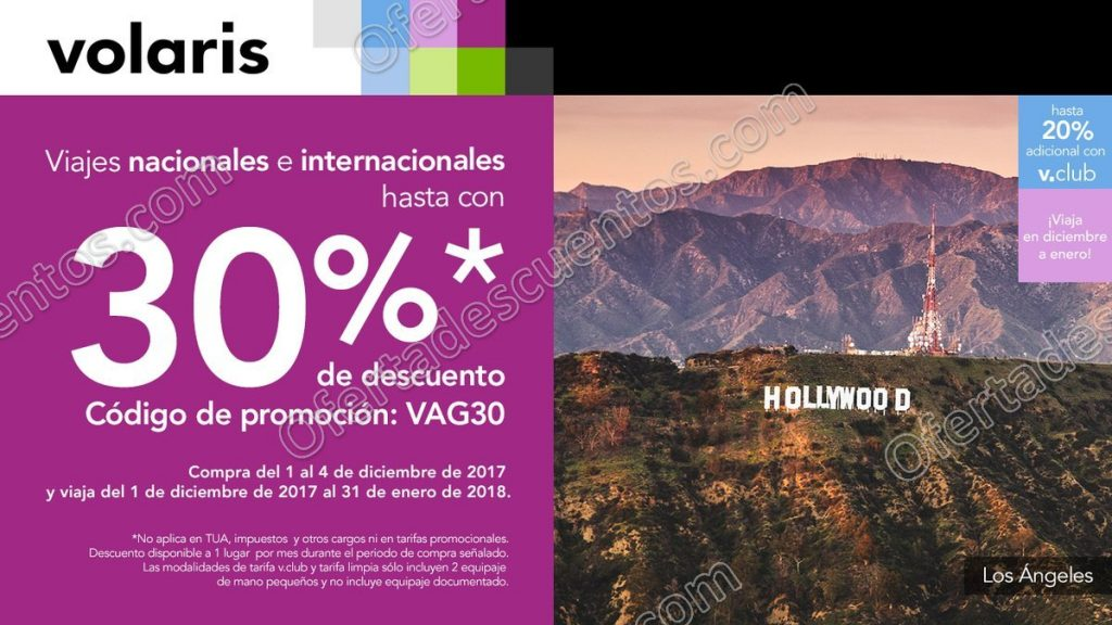 Volaris: Hasta 30% de descuento en Vuelos Nacionales e Internacionales 4 de Diciembre