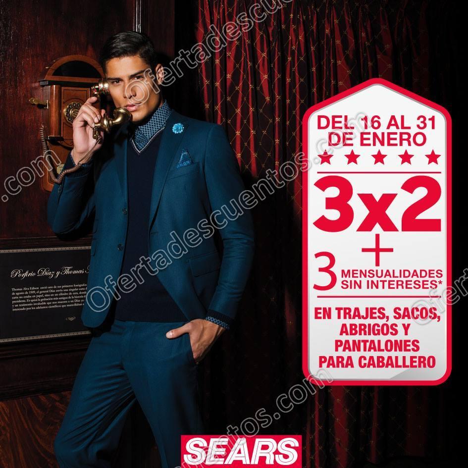 Sears: 3×2 en Trajes, Sacos, Abrigos y Pantalones para Caballero del 16 al 31 de Enero 2018