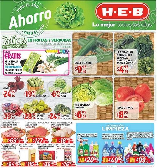 HEB: 7 Días de Frutas y Verduras del 30 de enero al 5 de febrero 2018