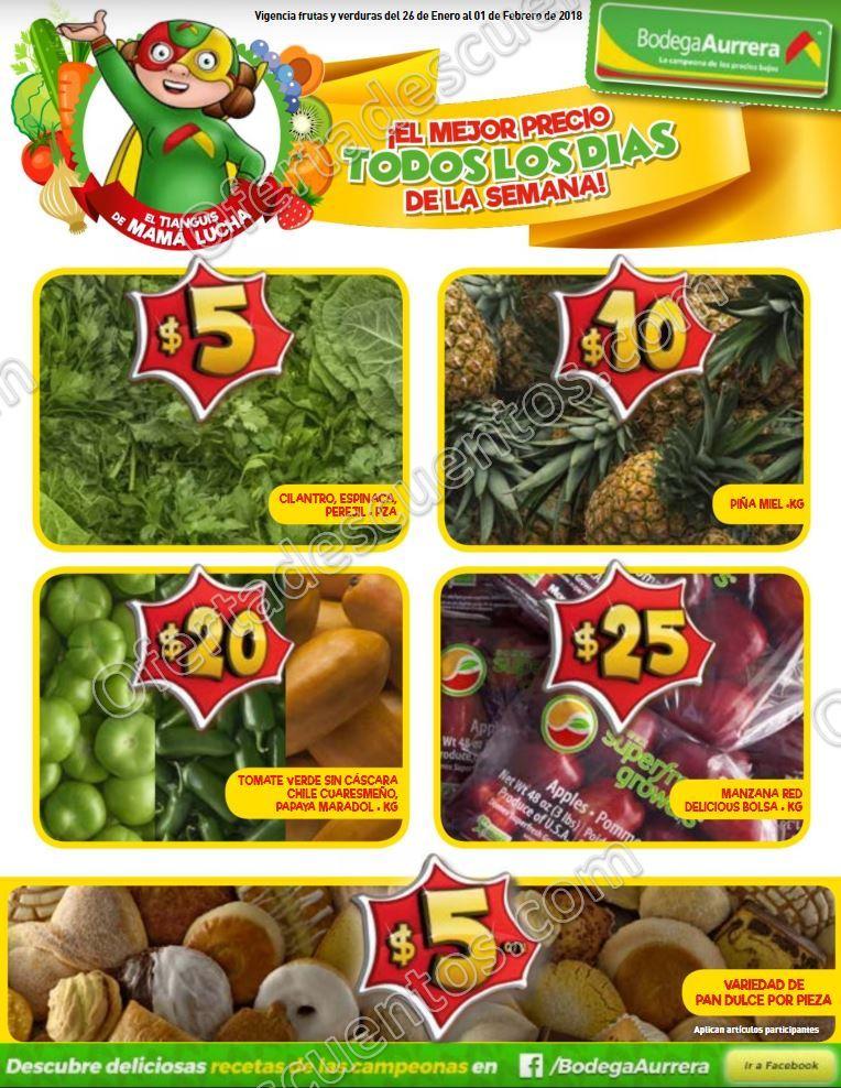 Bodega Aurrerá: Frutas y Verduras Tiánguis de Mamá Lucha del 26 de Enero al 1 de Febrero 2018