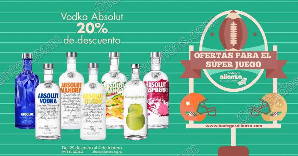 Bodegas Alianza Ofertas del Super Bowl 2018: 20% de descuento en Vodka Absolut y más