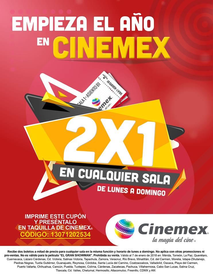 Cinemex: Entradas al 2×1 de Lunes a Domingo en todas las salas al 7 de Enero 2018
