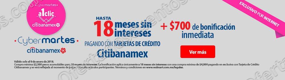 Walmart: Cyber Martes $700 de bonificación inmediata con Tarjetas Citibanamex