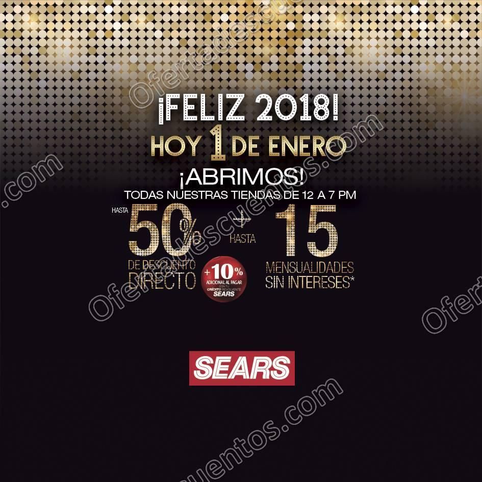 Sears: Feliz Año Nuevo hasta 50% de descuento más hasta 15 meses sin intereses 1 de Enero 2018