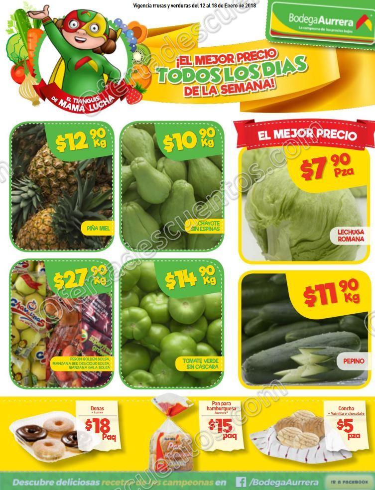 Bodega Aurrerá: Frutas y verduras Tiánguis de Mamá Lucha del 12 al 18 de Enero 2018