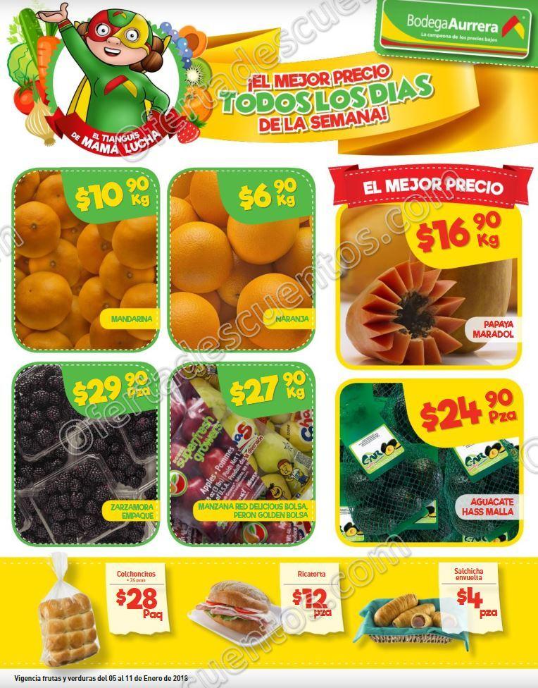 Bodega Aurrerá: Frutas y Verduras Tiánguis de Mamá Lucha del 5 al 11 de Enero 2018