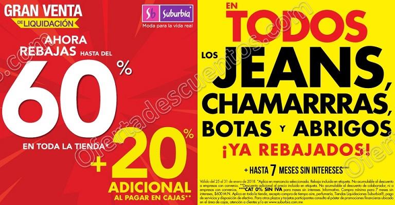 Suburbia: Hasta 60% de descuento más 20% adicional en Chamarras, Jeans, Botas y Abrigos