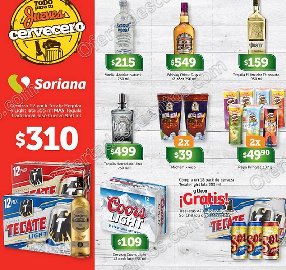 Soriana: Ofertas Jueves Cervecero 25 de Enero 2018