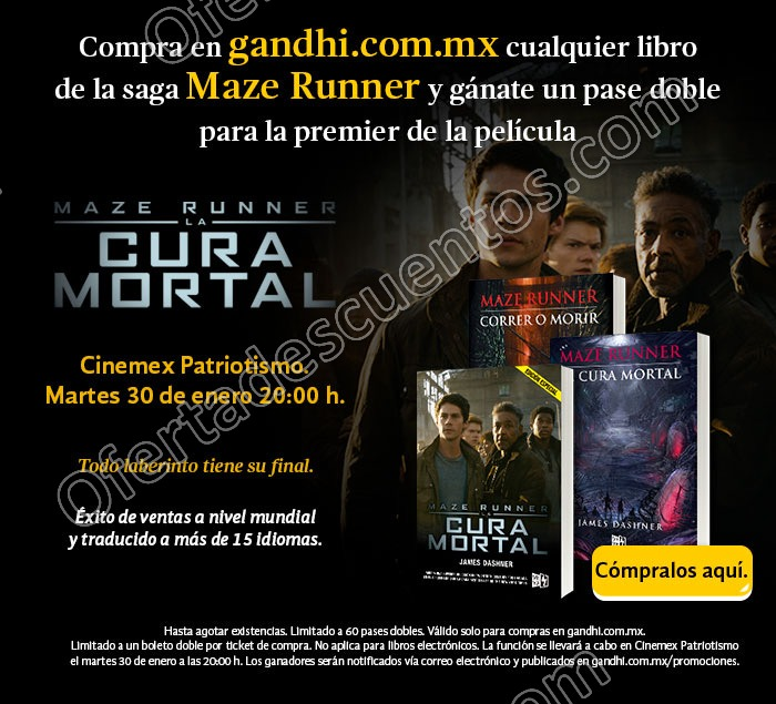 """Promoción Gandhi: Gratis pase doble para Maze Runner """"La Cura Mortal"""" comprando cualquier libro de la saga"""