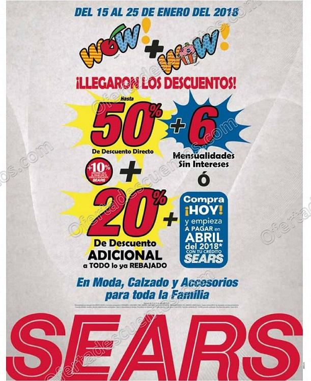 Sears: Segundas Rebajas Wow hasta 50% de descuento más 20% adicional