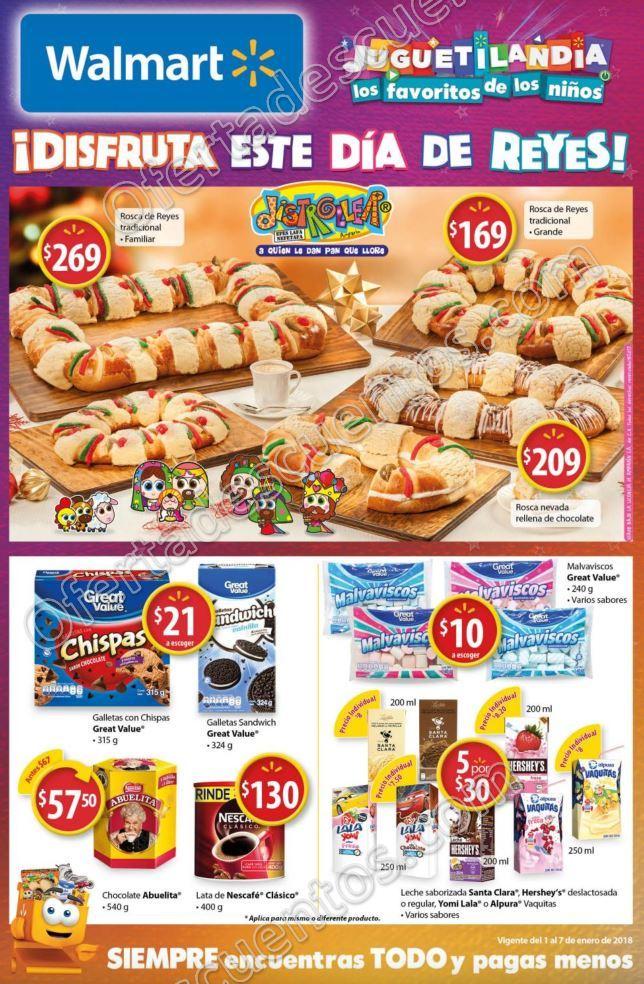 Walmart: Folleto de Promociones Día de Reyes del 1 al 7 de Enero 2018