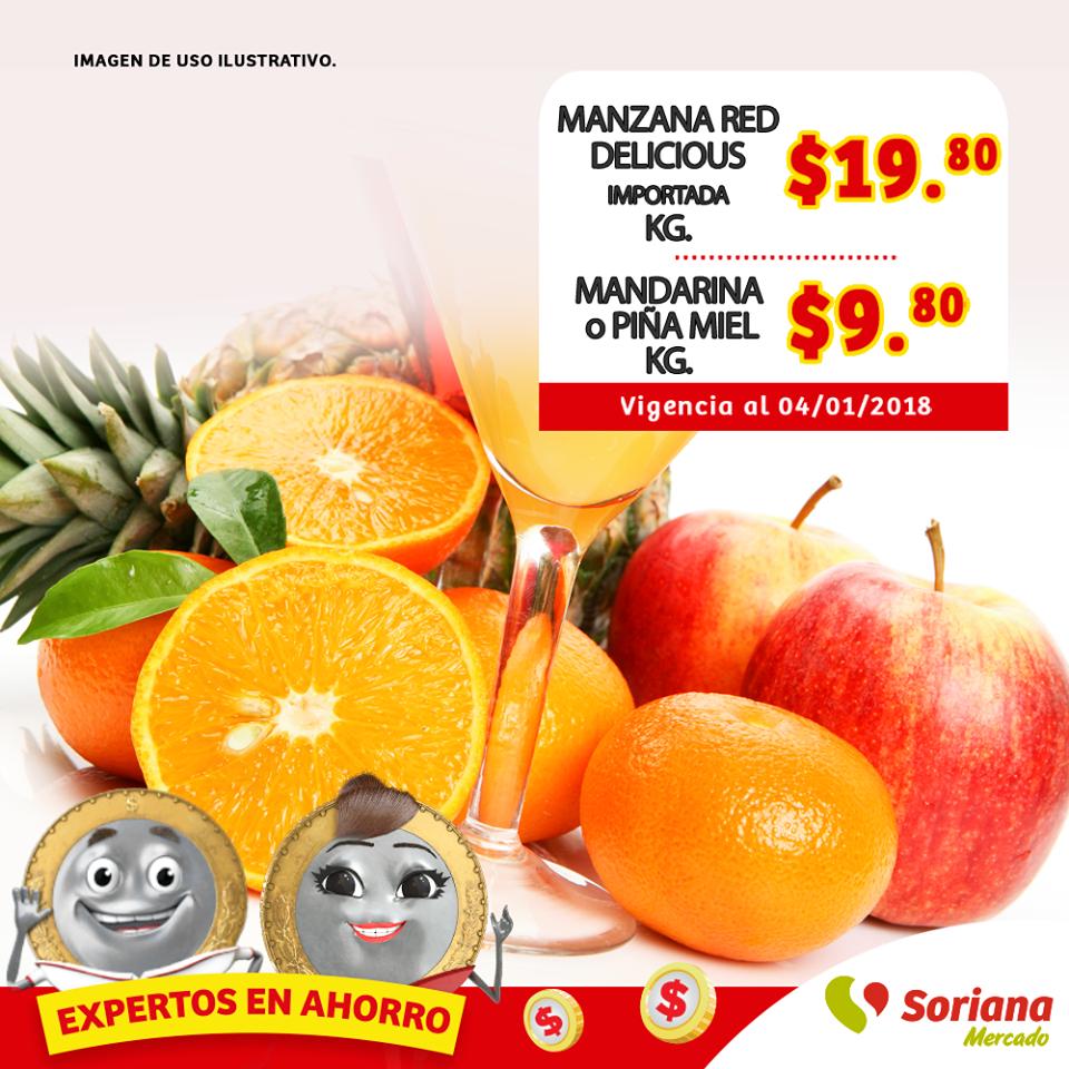 Soriana Mercado: Ofertas Frutas y Verduras del 2 al 4 de Enero 2017