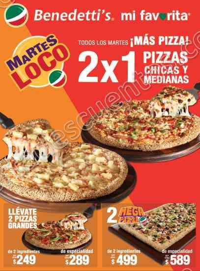 Benedetti's Pizza: Martes Loco 2×1 en Pizzas Chicas y Medianas