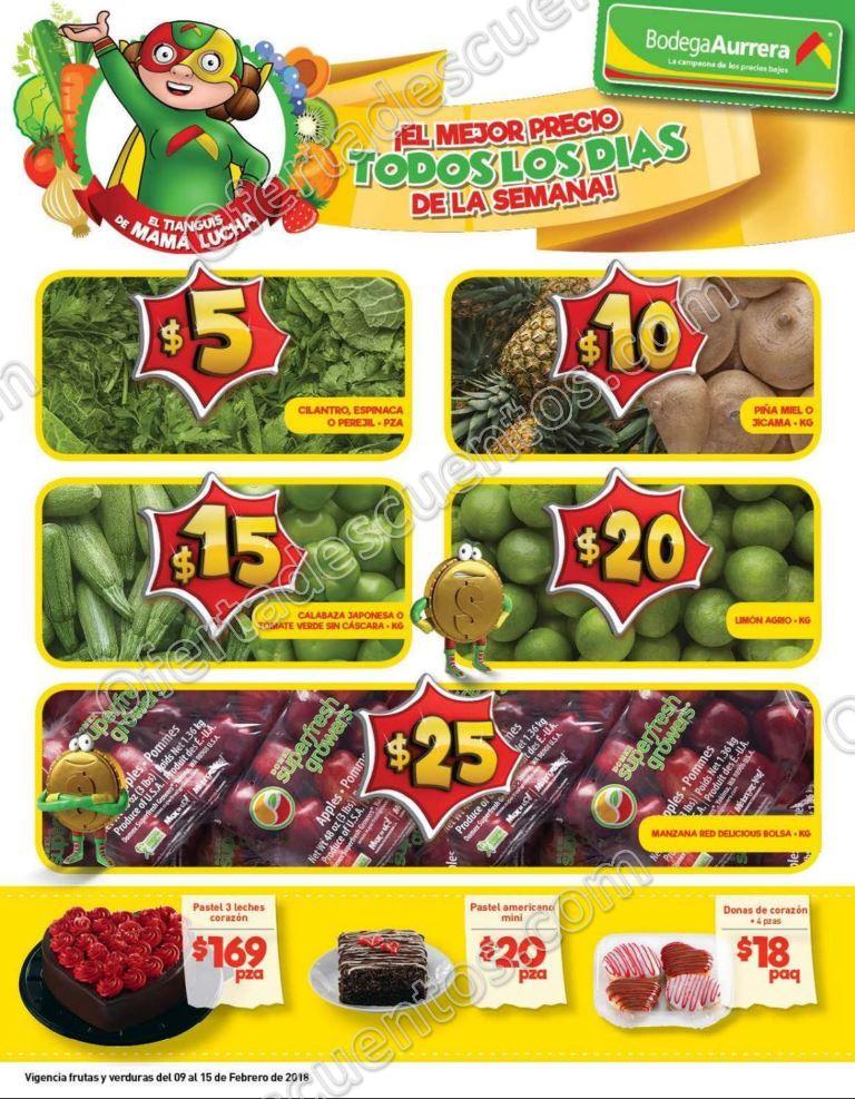 Bodega Aurrerá: Frutas y Verduras Tiánguis de Mamá Lucha del 9 al 15 de Febrero 2018