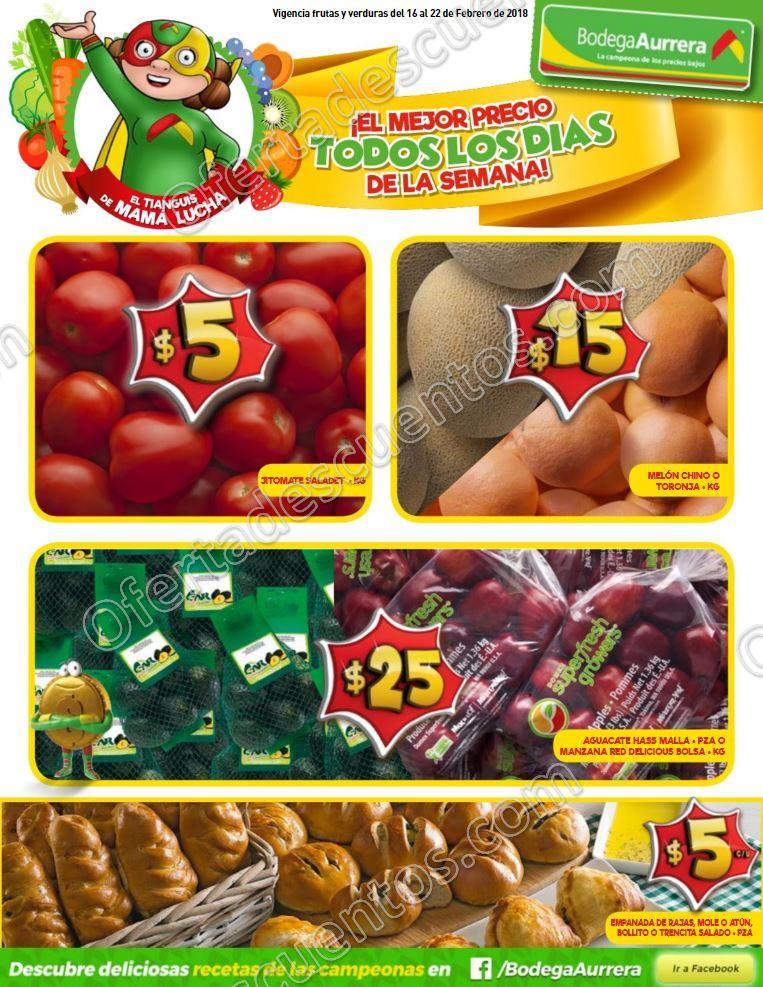 Bodega Aurrera frutas y verduras tianguis de mama lucha del 16 al 22 de febrero