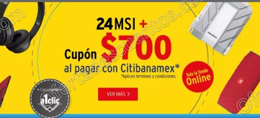 Elektra: CyberLunes Cupón $700 de descuento más 24 meses sin intereses con Citibanamex