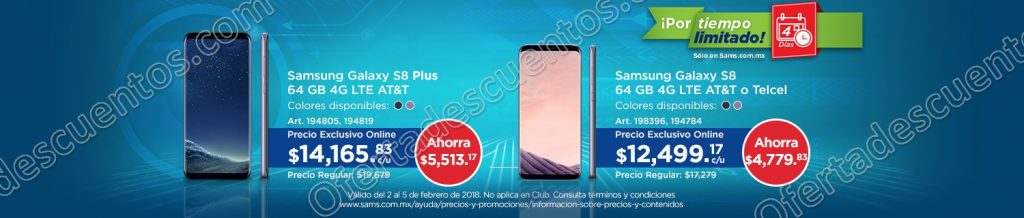 Sam's Club: Días de Shopping Online Galaxy S8 Plus 64 GB a $14,166 al 5 de Febrero