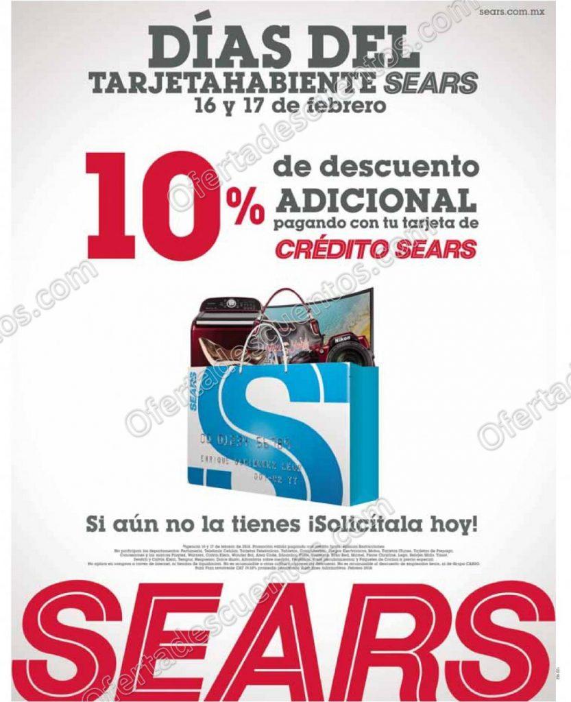 Sears: Días del Tarjetahabiente 10% de descuento adicional 16 y 17 de Febrero