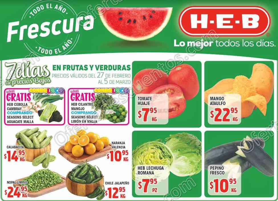 HEB: 7 Días de ofertas en frutas y verduras del 27 de Febrero al 5 de Marzo 2018