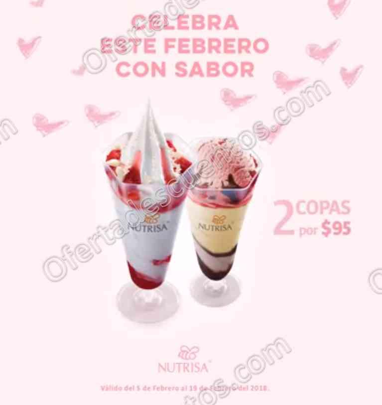 Nutrisa: Promoción mes del amor y la amistad 2 copas de helado por $95