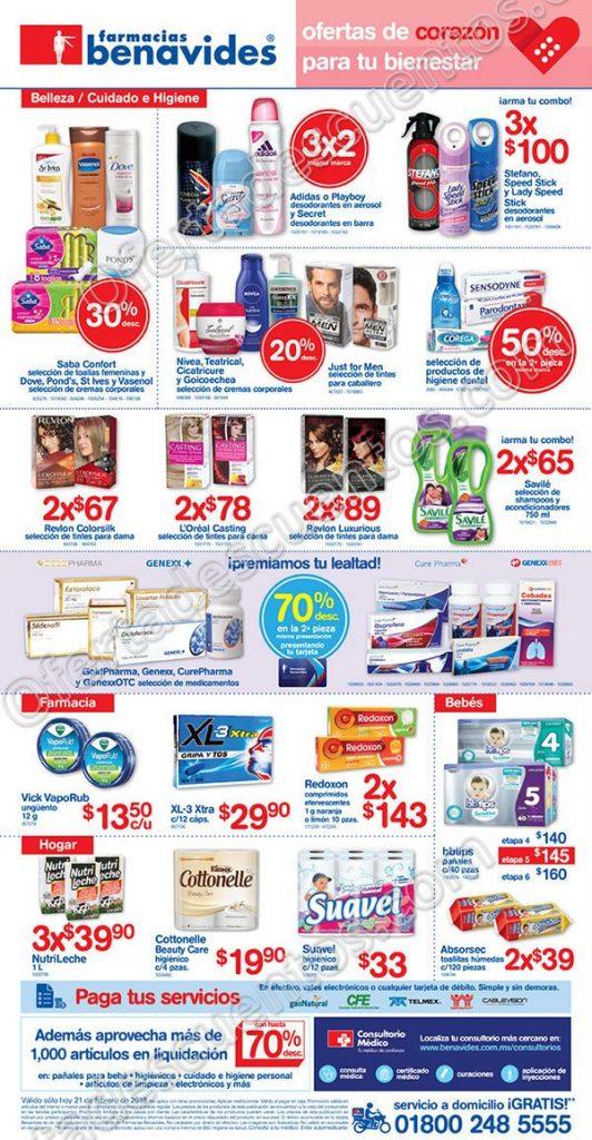 Farmacias Benavides: Ofertas Mierconómicos 21 de Febrero 2018
