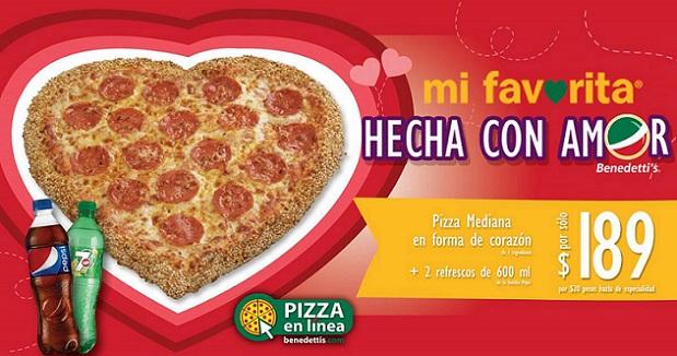 Bendetti's: Pizza Corazón más 2 refrescos por solo $189