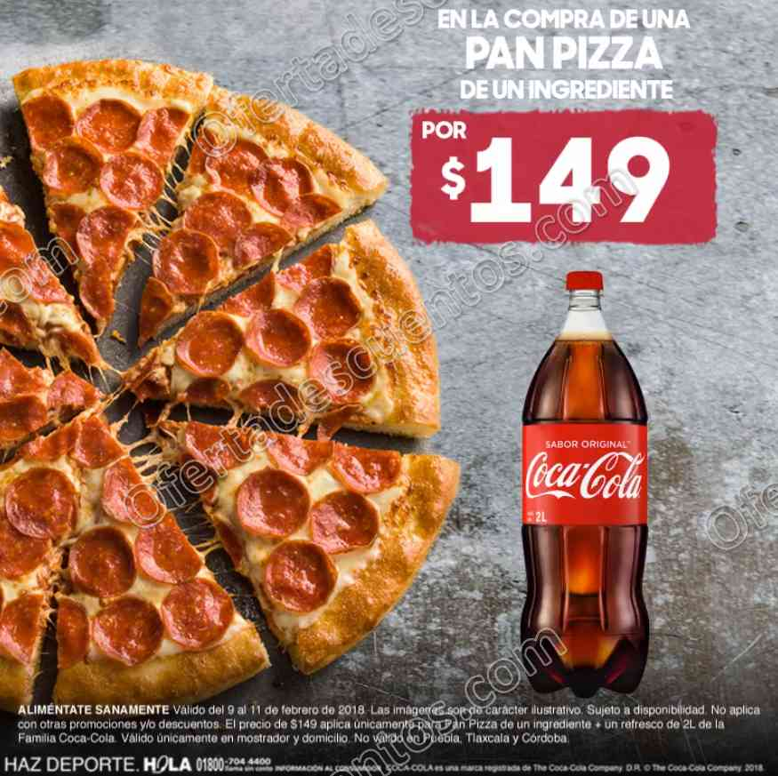 Pizza Hut: Pan Pizza 1 ingrediente más Refresco de 2 litros por $149
