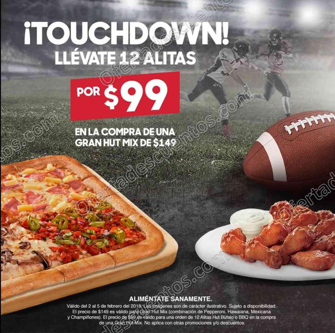 Pizza Hut: 12 alitas por $99 en la compra de una Pizza Gran Hut Mix de $149