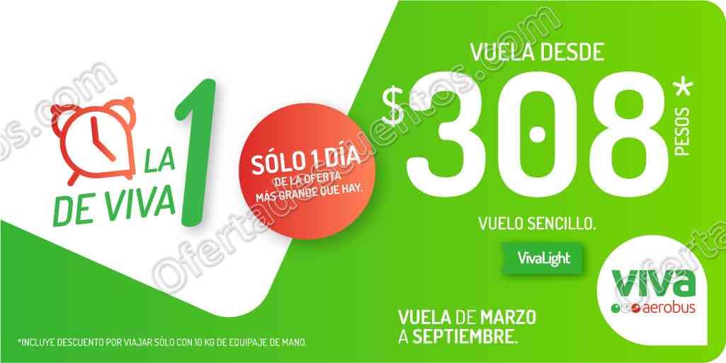 Promoción La 1 de Viva en VivaAerobus: Vuelos Sencillos desde $308 solo 28 de febrero 2018