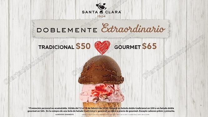 Santa Clara: Promoción San Valentín helado doble tradicional a $50 y gourmet a $65