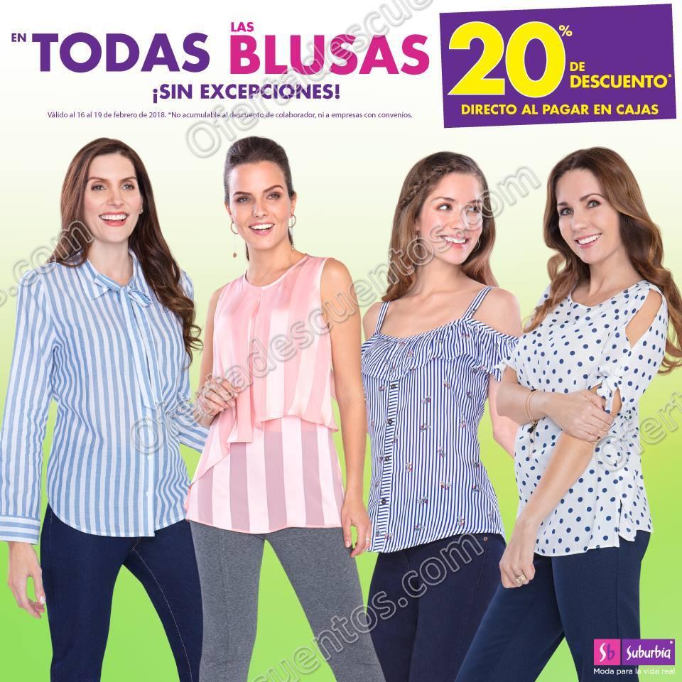 Suburbia: 20% de descuento en todas las blusas del 16 al 19 de Febrero