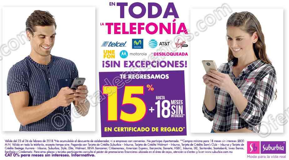 Suburbia: 15% de bonificación en Telefonía Celular más hasta 18 meses sin intereses