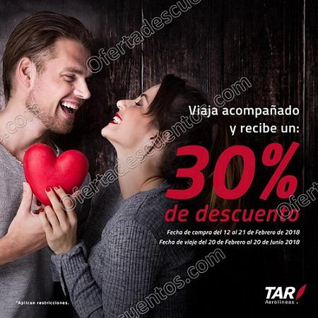 TAR Aerolíneas: 30% de descuento si viajas acompañado del 12 al 21 de Febrero